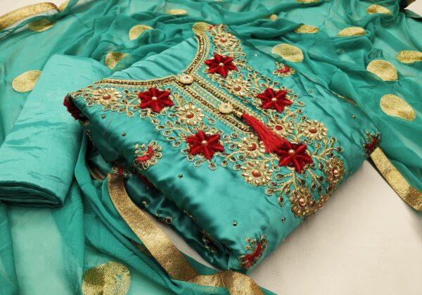 Radiant Rama Satin Embroidered Diamond Work Salwar Suit