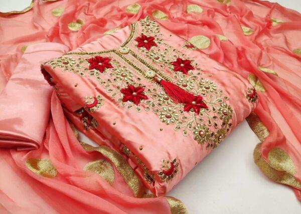 Ravishing Peach Satin With Embroidered Diamond Work Salwar Suit