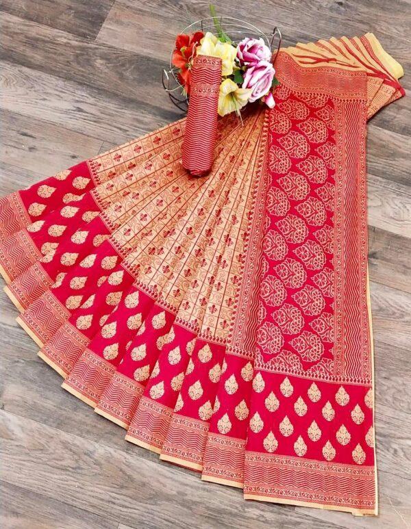 Dazzling Cream & Pink Banarasi Jacquard Weaving Embossed Saree