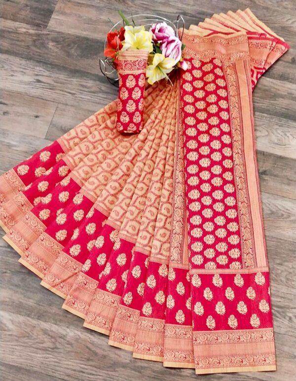 Wonderful Pink & Cream Banarasi Jacquard Weaving Embossed Saree