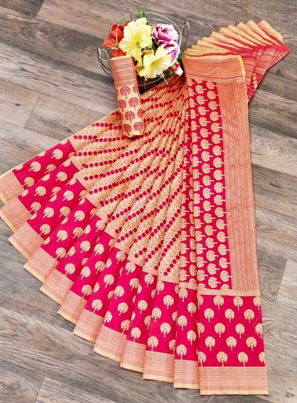 Glorious Pink & Cream Banarasi Jacquard Weaving Saree