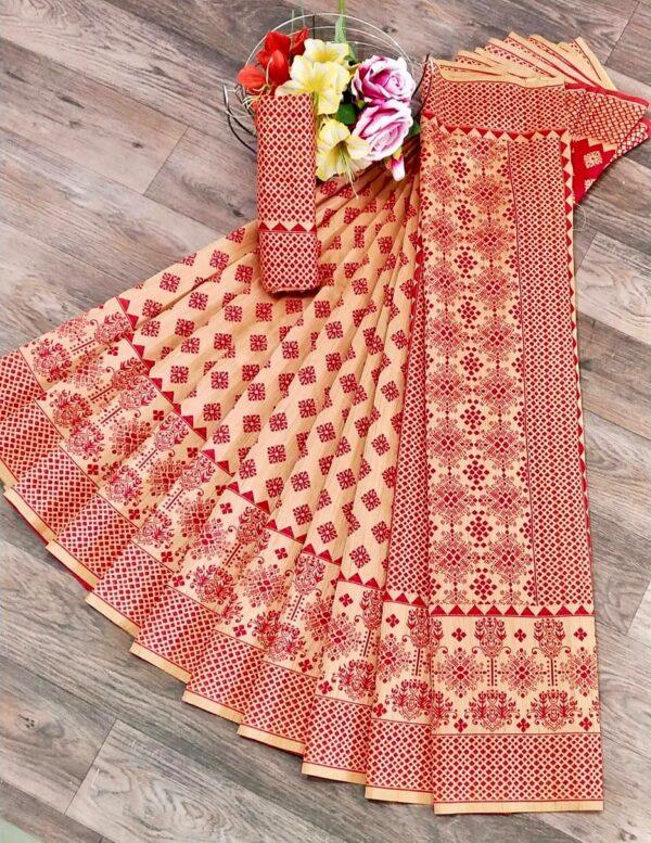 Captivating Cream & Red Banarasi Jacquard Weaving Saree