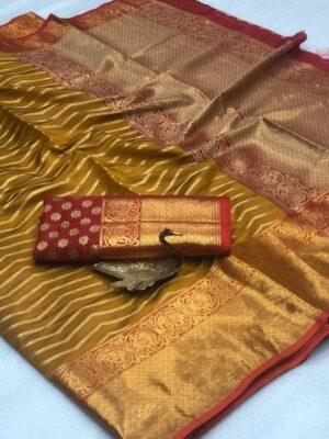Alluring Mustard Banarasi Silk All Over Zari Weaving Saree