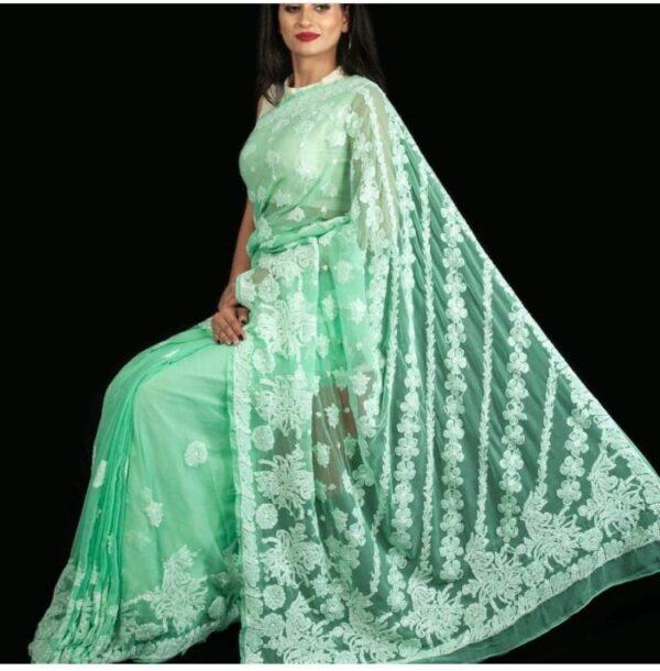 Beauteous Pista Net With Chine Stitch Work Saree