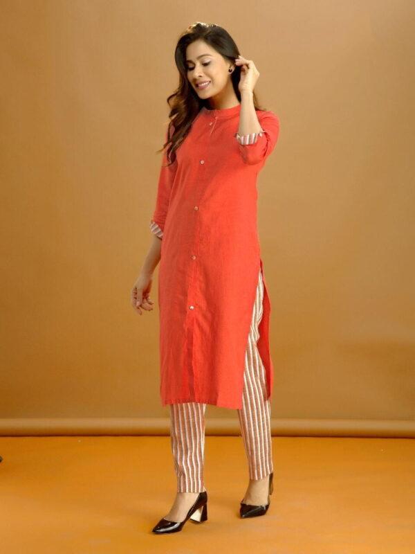 Fantastic Orange Cotton With Digital Print Pent & Kurti