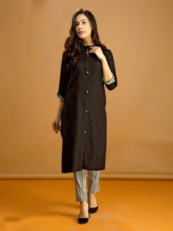Wondrous Black Cotton With Digital Print Kurti & Pent