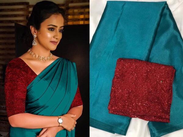 Radiant Rama & Maroon Satin Silk Plain Party Wear Saree