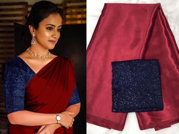 Ravishing Maroon & Blue Satin Silk Plain Party Wear Saree