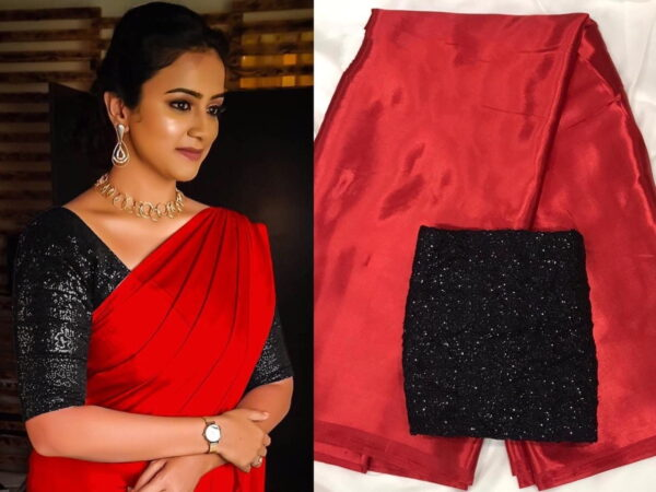 Dazzling Red & Black Satin Silk Plain Party Wear Saree