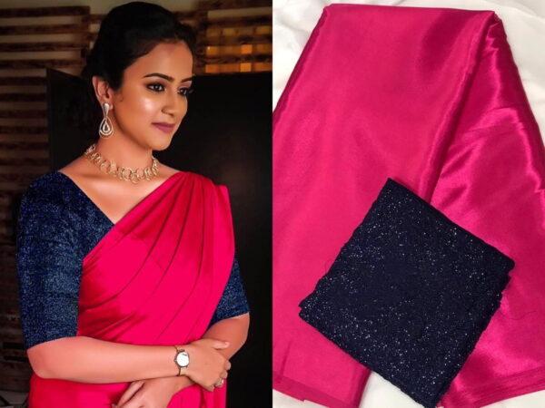 Wonderful Rani & Blue Satin Silk Plain Party Wear Saree