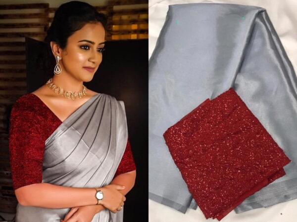Captivating Red & Grey Satin Silk Plain Party Wear Saree