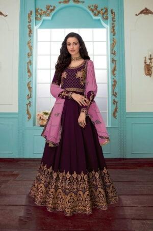 Alluring Wine Georgette With Chine Stitch Work Salwar Suit