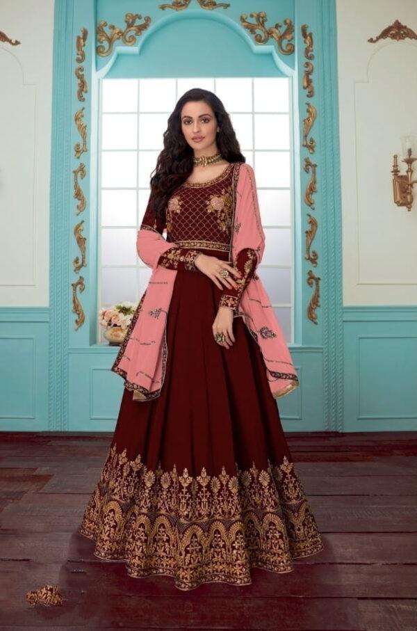 Exquisite Maroon Georgette With Chine Stitch Work Salwar Suit
