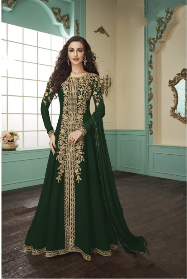 Knockout Dark Green Georgette With Embroidered Work Salwar Suit