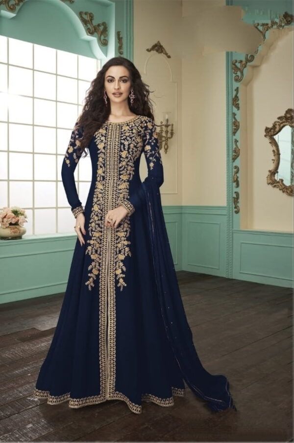 Smashing Navy Blue Georgette Embroidered Work Salwar Suit