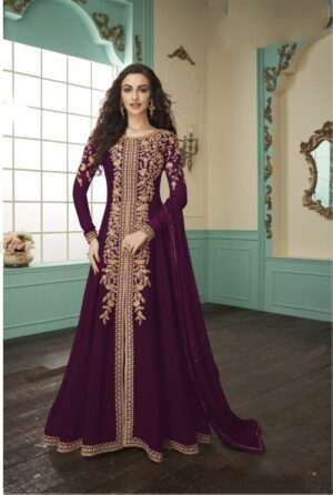 Bootylicious Wine Georgette With Embroidered Work Salwar Suit