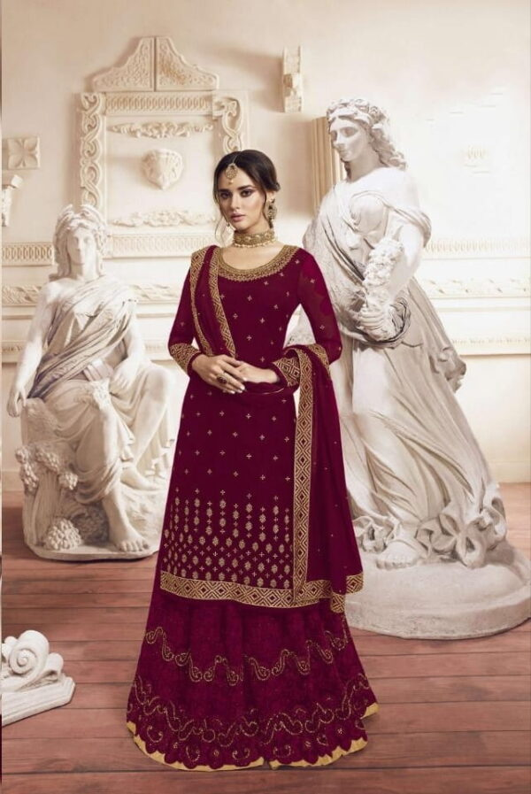 Pulchritudinous Maroon Georgette With Embroidered Work Plazo Salwar Suit