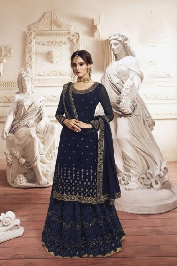 Wondrous Navy Blue Georgette With Embroidered Work Plazo Salwar Suit