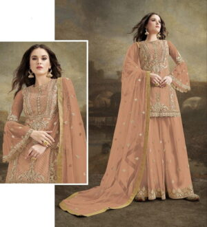 Attractive Peach Net With Diamond Embroidered Work Plazo Salwar Suit