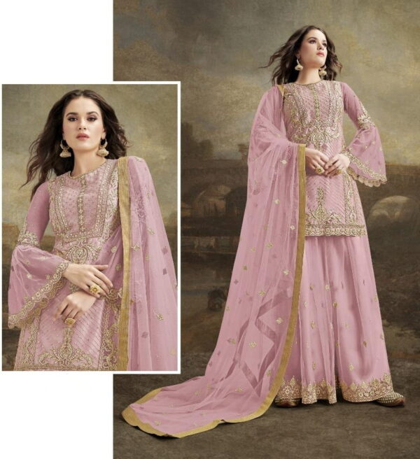 Lovely Pink Net With Diamond Embroidered Work Plazo Salwar Suit