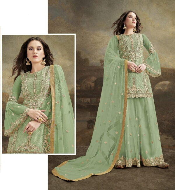 Good-Looking Pista Green Net With Embroidered Diamond Plazo Salwar Suit