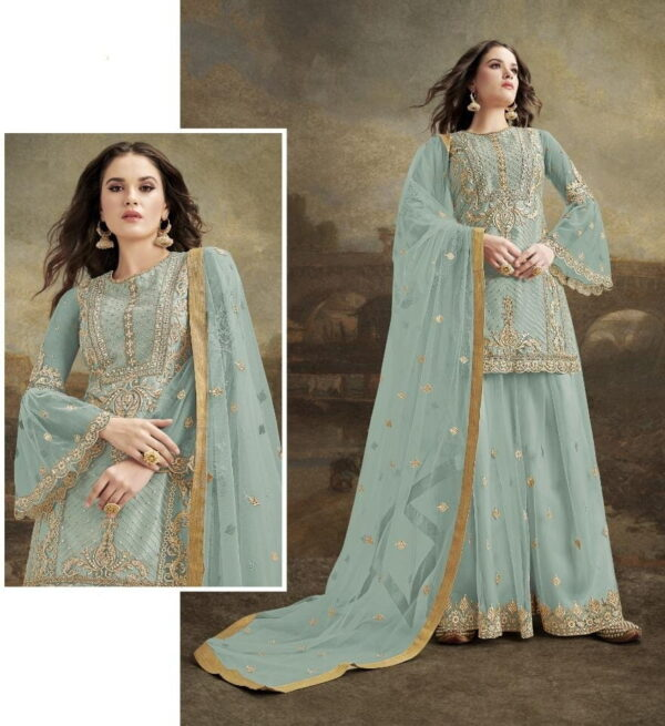Comely Light Blue Net With Embroidered Diamond Plazo Salwar Suit
