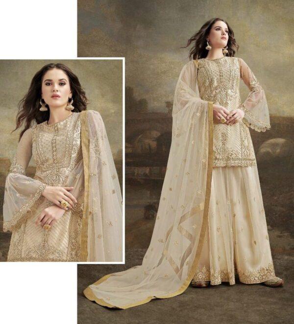 Pretty Cream Net With Embroidered Diamond Work Plazo Salwar Suit
