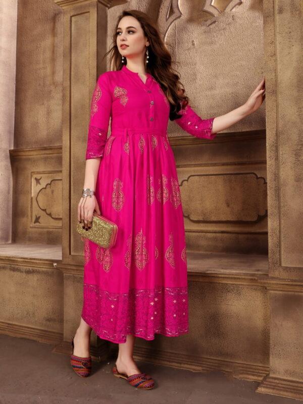 Wonderful Rani Rayon Foil Printed Gown