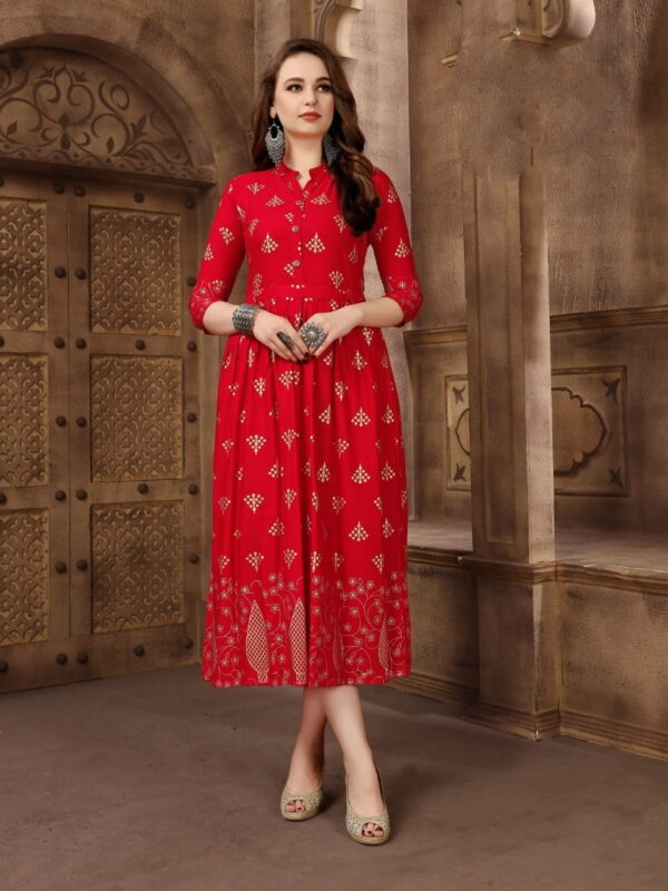 Glorious Red Rayon Foil Printed Gown