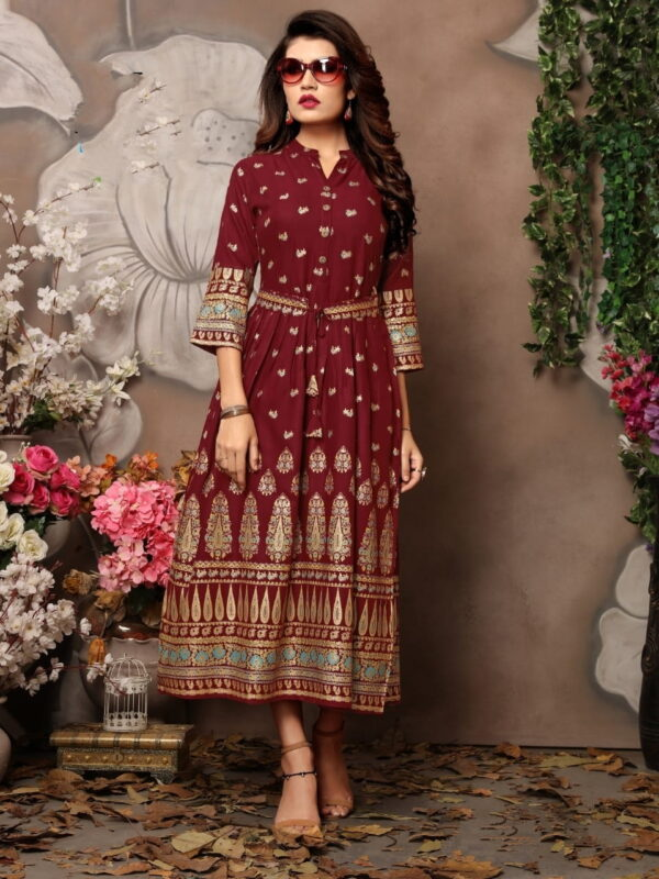 Captivating Maroon Rayon Foil Printed Gown