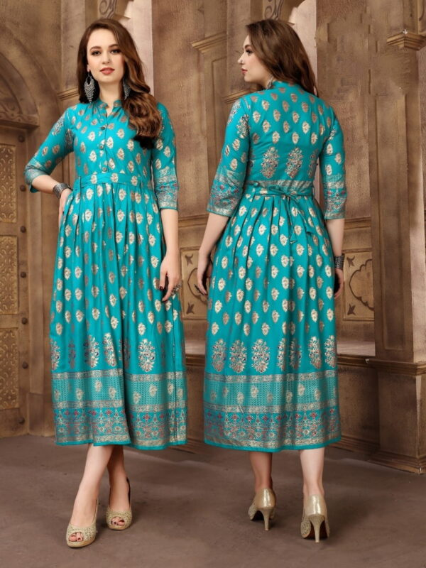 Alluring Firozi Rayon Foil Printed Gown