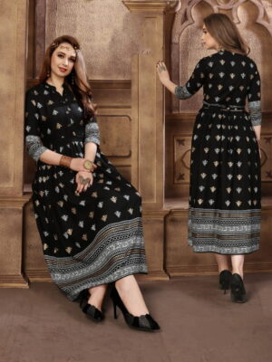 Amazeballs Black Rayon Foil Printed Gown