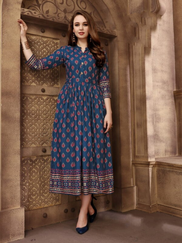 Smashing Navy Blue Rayon Foil Printed Gown