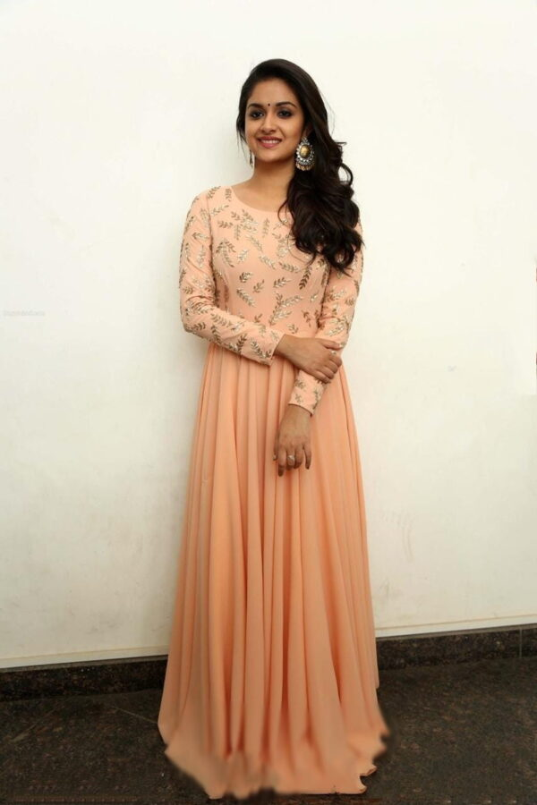 Beauteous Peach Full Stitched Georgette Embroidered Work Gown