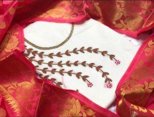 Good-Looking White Chanderi With Khatli Work Salwar Suit