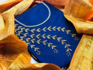 Pretty Blue Chanderi Khatli Work Salwar Suit