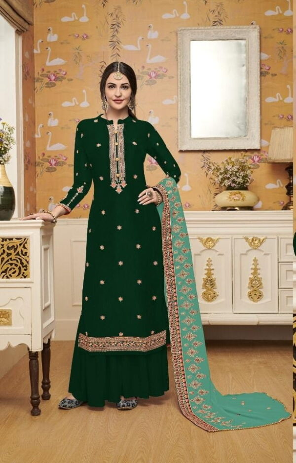 Magnificent Green Silk With Embroidered Work Salwar Suit