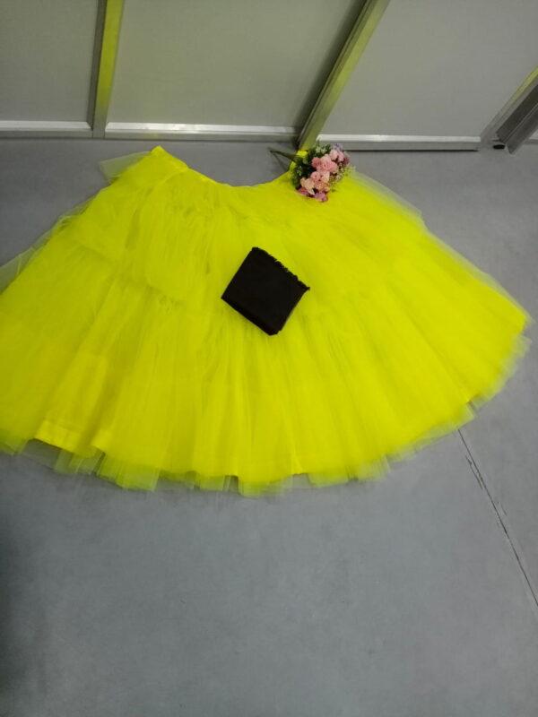 Glorious Black & Yellow Net Three Layers Crop Top Lehenga Choli