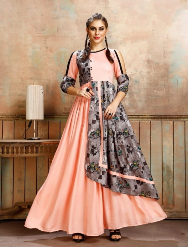 Exquisite Peach Rayon Printed Full Stitched Gown