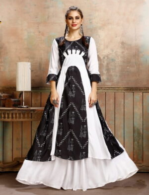 Amazeballs Black & White Rayon Printed Ready Made Gown