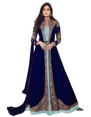 Smashing Royal Blue & Sky Blue Georgette Embroidered Work Salwar Suit