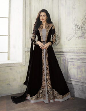 Bootylicious Black & Grey Georgette With Embroidered Work Salwar Suit