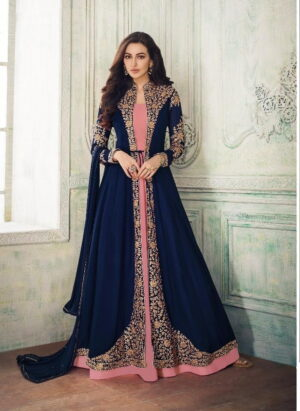 Beauteous Navy Blue & Pink Georgette Embroidered Work Salwar Suit