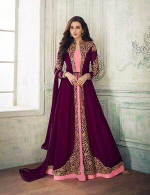 Amazing Wine & Pink Georgette With Embroidered Work Salwar Suit