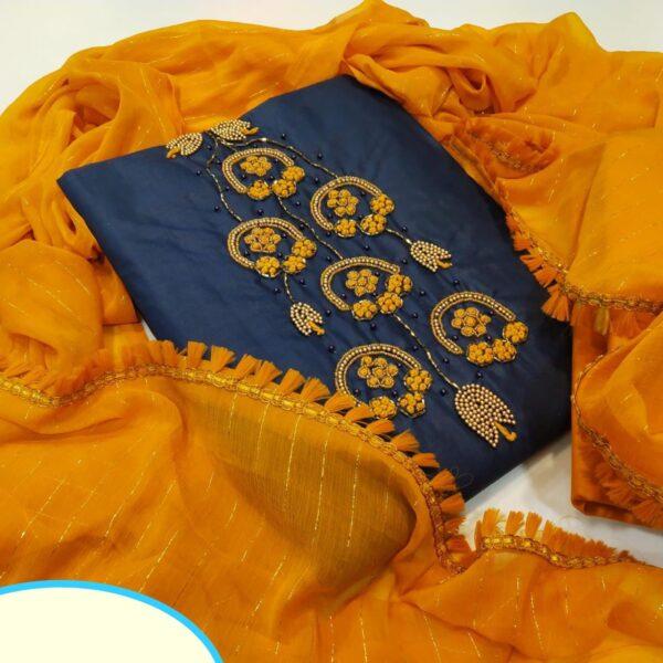 Splendid Navy Blue Cotton With Hand Work Salwar Suit