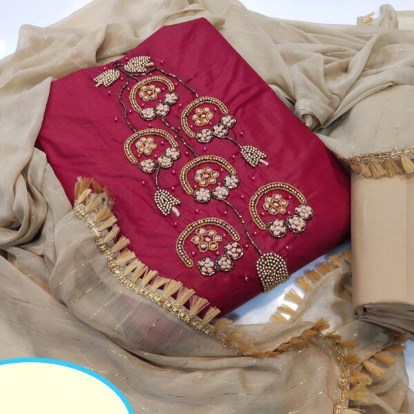 Breathtaking Maroon Cotton With Hand Work Salwar Suit