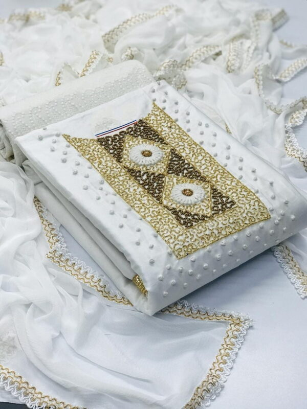 Comely White Jam Cotton With Hand Work Salwar Suit