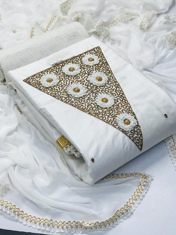 Pretty White Jam Cotton With Hand Work Salwar Suit
