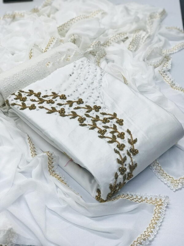 Radiant White Cotton With Hand Work Salwar Suit