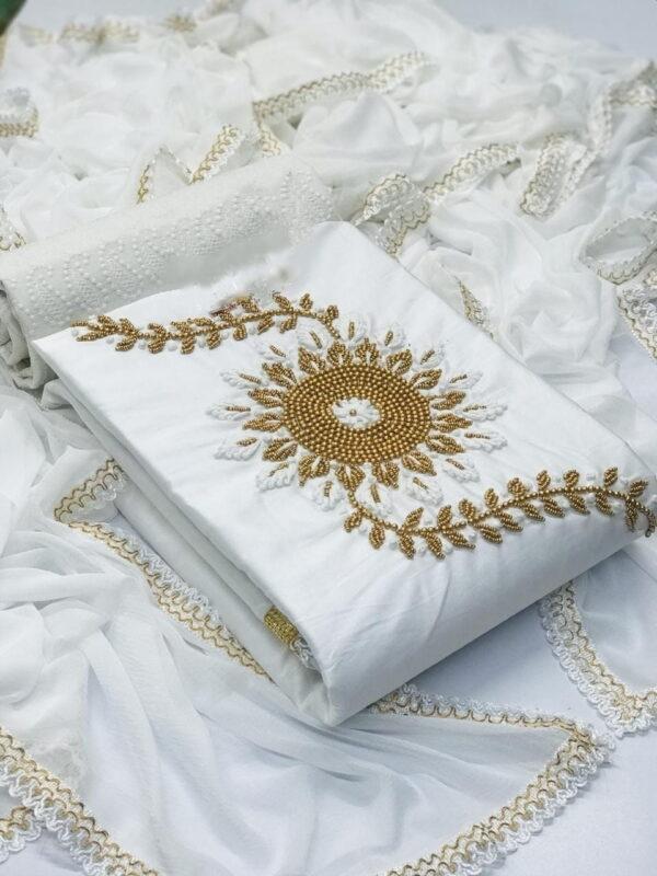 Ravishing White Cotton With Hand Work Salwar Suit